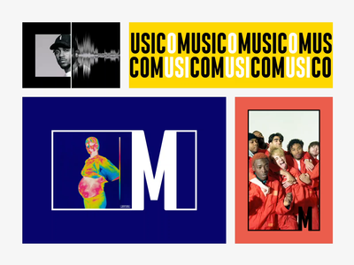 Music.com - The Branding website vector art album cover icon mark music app sticker tape loop condensed bold m letter ci typography animation minimal branding logo