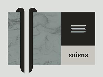 Saiens 3 mosaic brutalism elegant serif key visual negative space marble texture typography minimal branding logo