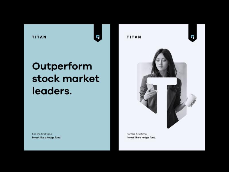 Titan Brand 2 ribbon label bold negative space mask slogan advertising fintech key visual print typography minimal branding logo