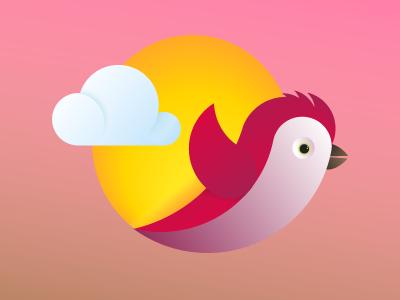 Red Bird circle sun vector illustrator gradient icon fly bird red