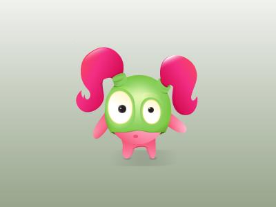 Sunday Icon cute little vector illustrator bubblegum gradient character magenta icon
