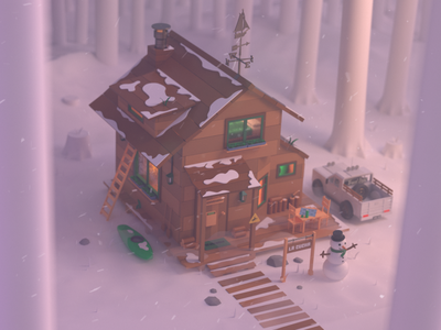 Winter Time!!! cold design rocks mate kayak landscape snowman winter wood cabin snow nature forest 4x4 character animation illustration 3d