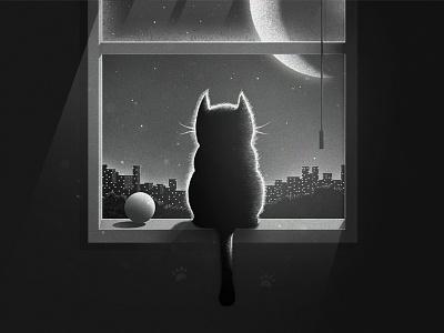 Thinking cat!!! black love city night moon kitten kit window animal cute cat illustration