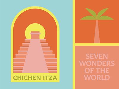 Chichen Itza - Mexico illustration green pink orange traveling travel palm trees wonders of the world culture pyramids summer beach palm maya tulum mexico chichen itza