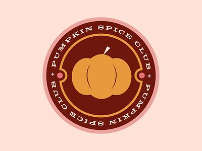Pumpkin Spice Club Badge vegetable squash brown illustration pumpkin spice halloween leaves autumn fall orange badge pumpkin logo