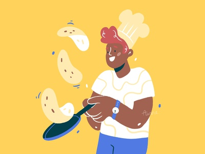 Cooking class 🥞 food illustration crepes yellow character design food drawing palette ipad character design procreate illustration