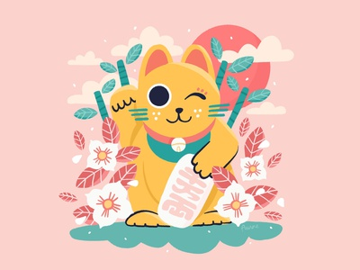 Lucky Cat pink cute holidays japanese japan travel character design drawing palette character ipad design procreate illustration cat lucky cat