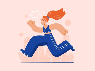 Running 🚀 running run pink sport woman girl character design drawing palette character ipad design procreate illustration