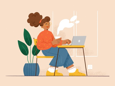 Coworking website webdesign coworking space girl character design drawing palette character ipad design procreate illustration