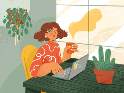 Green office editorial texture pattern colors coffee workin work red yellow plants character design character illustration computer desk green woman office