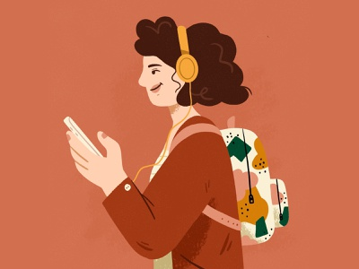 Podcast love pattern headphone podcast editing editorial girl character design drawing palette ipad character design procreate illustration