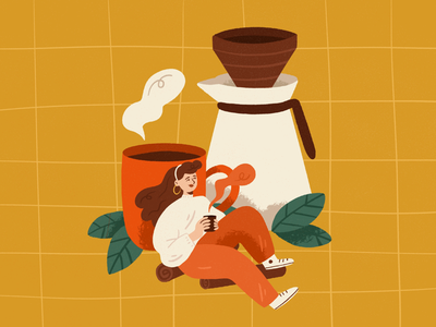 Coffee time food branding character design drawing palette ipad character design procreate illustration coffee