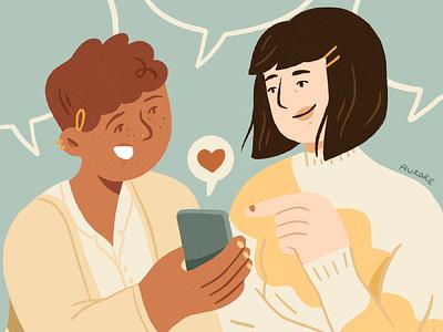 Social Media Like like button facebook instagram editorial cellphone social media like girl character design drawing palette ipad character design procreate illustration