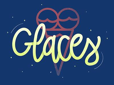 Glaces for Ice Cream ! branding food design french ice identity logo procreate illustration typographie type lettering icecream