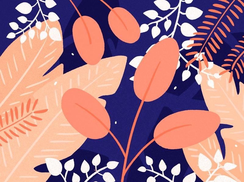 Bouquet 🌿 pattern purple orange pink plants forest tropical botanical leaves leaf bouquet drawing blue palette ipad design procreate illustration plant flower