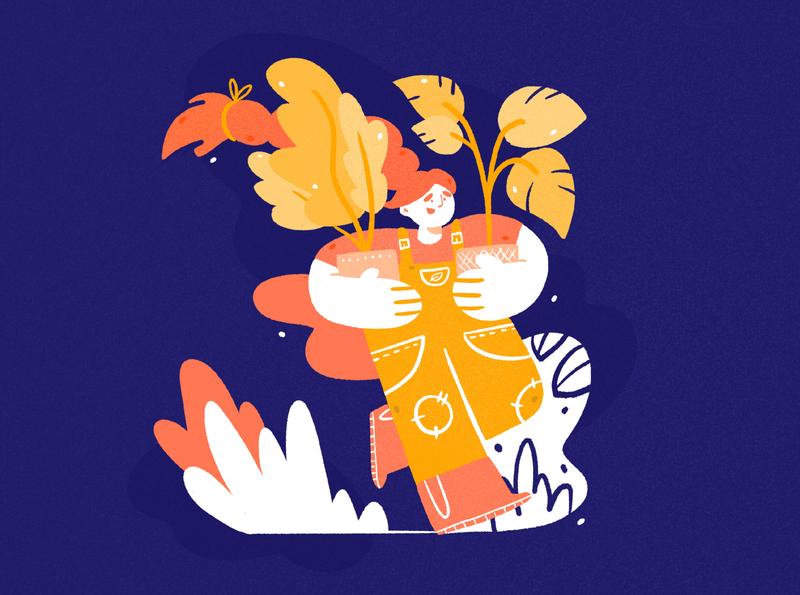 Calendar - April 🌿 plant illustration plant girl blue character design drawing palette ipad character design procreate illustration