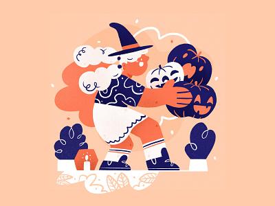 Calendar - October 👻 halloween party october magic spooky children pumpkin witch halloween holidays girl character design drawing palette ipad character design procreate illustration