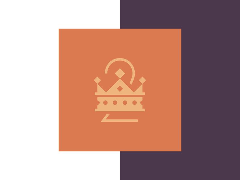 Two Kings restaurant art deco symbol logo design king two crown brand design branding icon logo