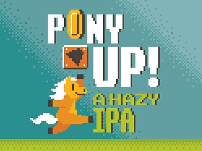 8-bit Pony Up vector retro typography illustration beer label beer can packaging beer video game pony mario 8-bit