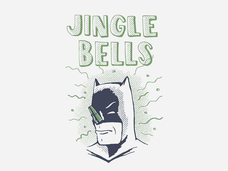 Batman Smells handdrawn superhero holidays christmas illustration halftone smell jingle bells comic batman