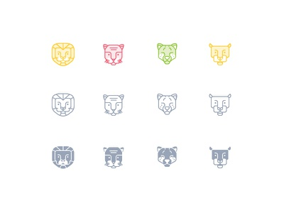 Zoocon cute panther cheetah tiger lion sale forsale icons line glyph animal zoo