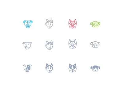 Zoocon cute beagle wolf haskey pit bull sale forsale icons line glyph animal zoo
