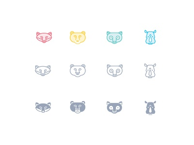 Zoocon   cute rhino tarsier bear fox sale forsale icons line glyph animal zoo