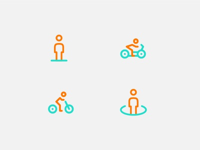 People pin bicycle motorcycle people forsale icon line