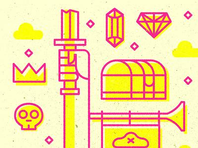 Forfun cute skull diamond pirate yellow pink line illustration fun for just