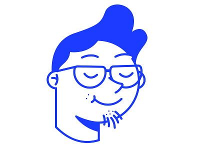 Self Portrait blue love smile head icon potrait self