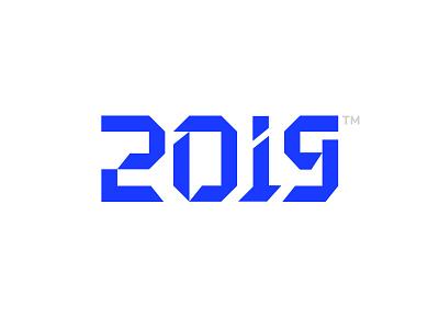Happy New Year tm blue logotype number logo holiday 2019 year new happy