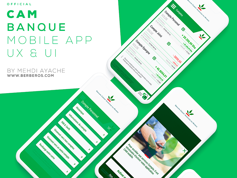 CAM official bank application ux bank ui banking mobile application bank app crédit agricole du maroc