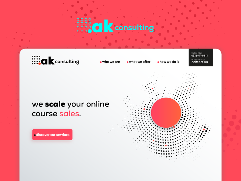 ak.consulting landing page morocco landing page concept ux home page ui home page sales consulting agency branding gradient landing page home page