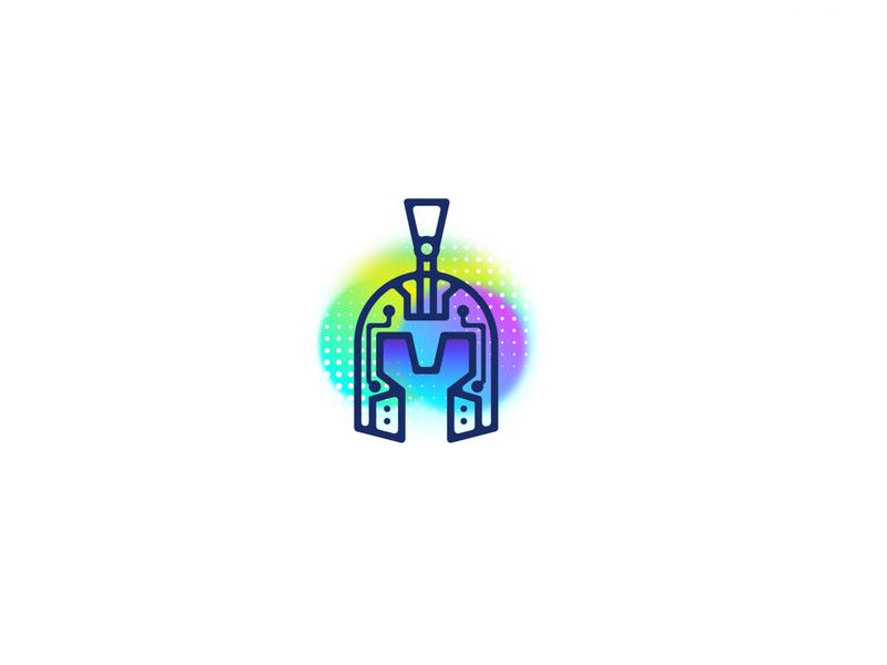 AI Roman Helmet logo logos 2d logodesign logo dribbble gradient logo branding helmet