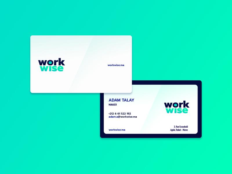 workwise minimalist business card branding gradient print behance dribbble business card