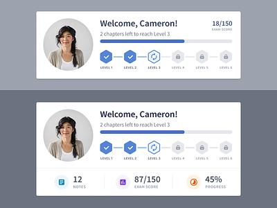 Exploring course progress bar dashboard app clean ui avatar lock badge achievement learn exam score progressbar level-up course progress