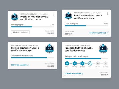 Course card exploration web certification learn progress app ui card course