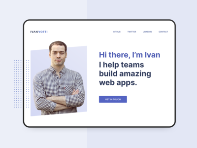 Hero of a personal website for Daily UI #003