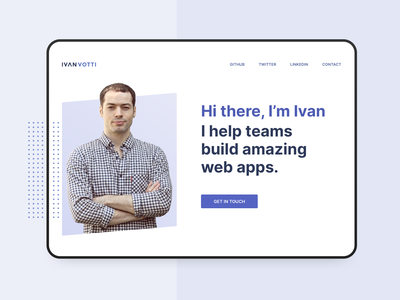 Hero of a personal website for Daily UI #003 clean landing page webdesign minimal web dailyui hero banner website portfolio website portfolio personal page hero