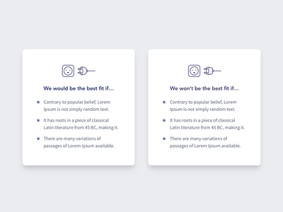 We would be the best fit if... ui icons design web webdesign icon list items illustration minimal clean landing page cards card