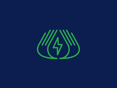 Energy design logo design icon branding save logo oil water hands energy bolt