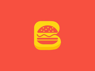 Burger lettermark b branding minimal restaurant food burger negative space logo negative space logo design logo monogram