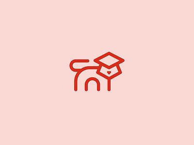 EduCat icons animal pet school cat education branding icon design logo