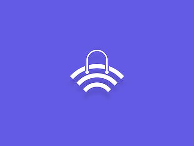 ShopNetwork signal wifi icon shop network branding design logo