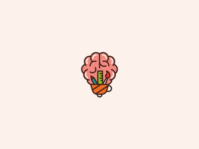 Creativemind ruler brush pencil bulb cup brain illustration logo design design logo mind creative