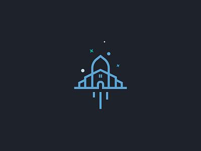 Spacepartment rocket living house apartment design space logo illustration icon