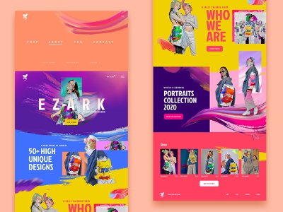 Presentation website for Hand painted jackets colorful brush strokes painting ui