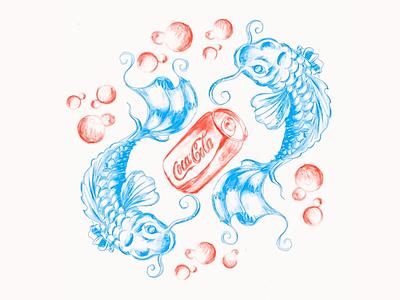 dreams fish coke cocacola illustration character graphic