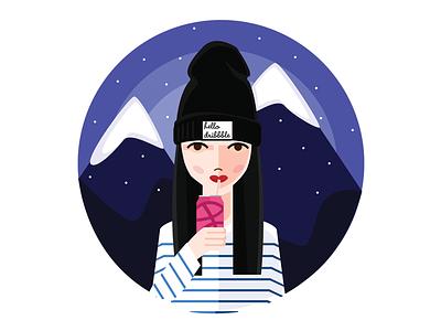 Hello Dribbble shot 1st mountains girl illustration graphic