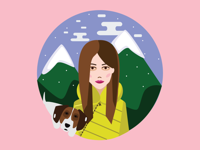 Friends friends dante dog girl mountains design character illustration graphic